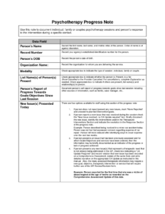 Sample Psychotherapy Progress Notes Template | Private for School Psychologist Report Template