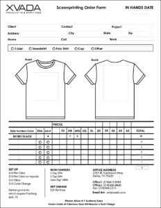Sample T-Shirt Order Form Template Microsoft Word inside Blank T Shirt Order Form Template