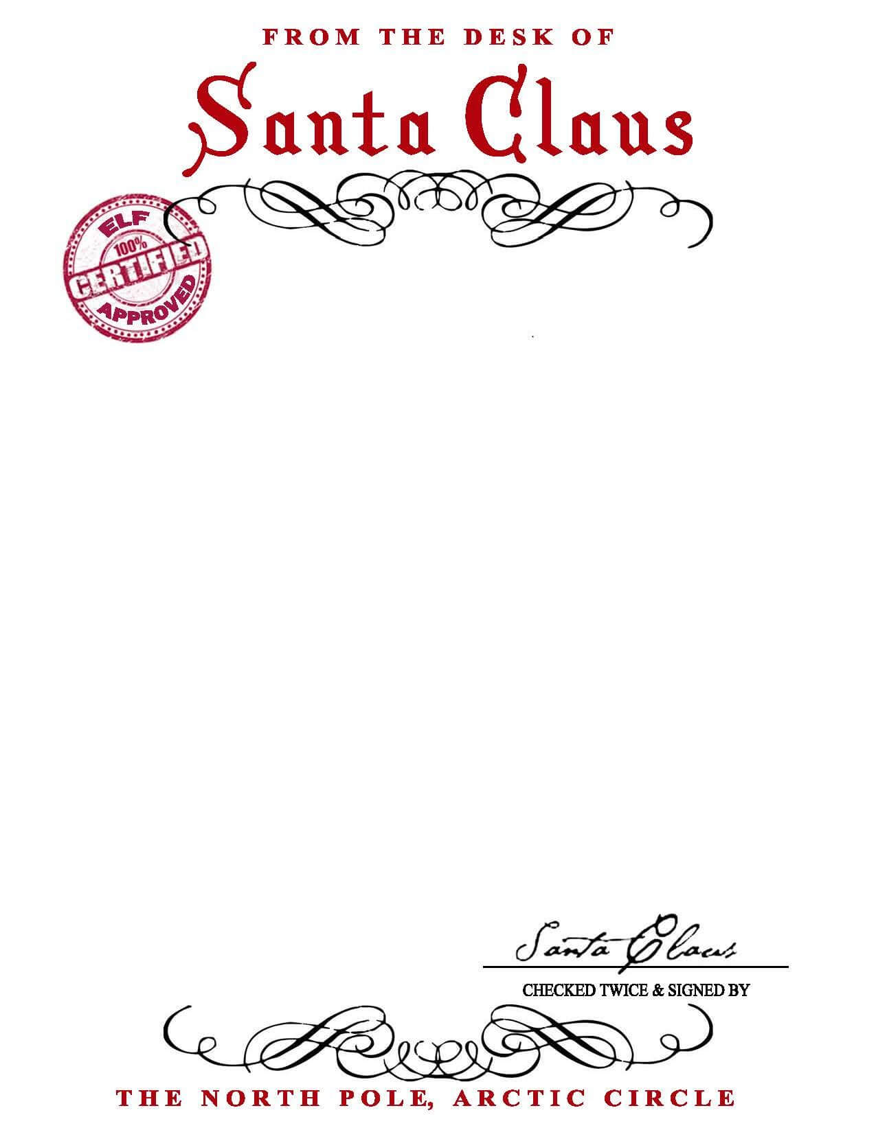 Santa Claus Letterhead.. Will Bring Lots Of Joy To Children Throughout Blank Letter From Santa Template