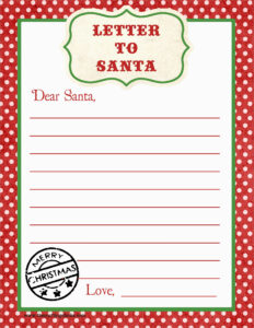 Santa List Template Yeder Berglauf Verband Com Letter To for Letter From Santa Template Word