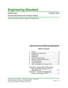 Saudi Aramco Engineering Standard For Hydrostatic Pressure Test Report Template