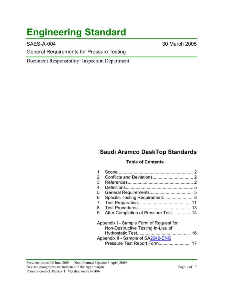 Saudi Aramco Engineering Standard For Hydrostatic Pressure Test Report Template