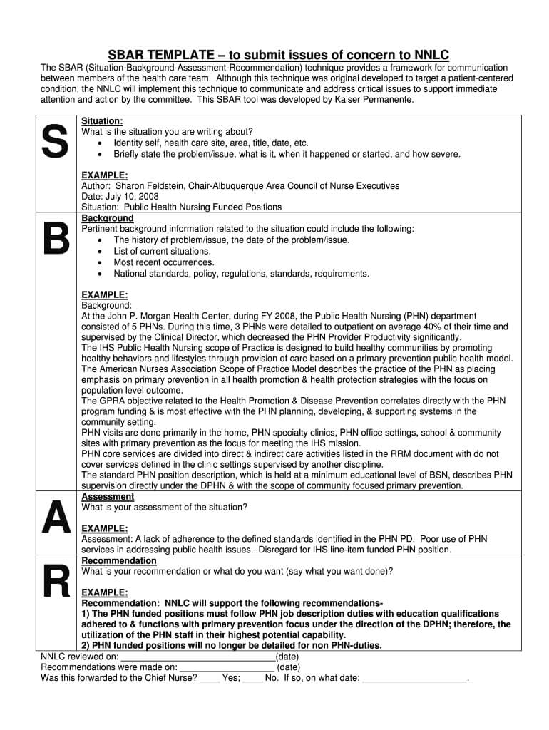 Sbar Free Printable – Fill Online, Printable, Fillable With Regard To Sbar Template Word