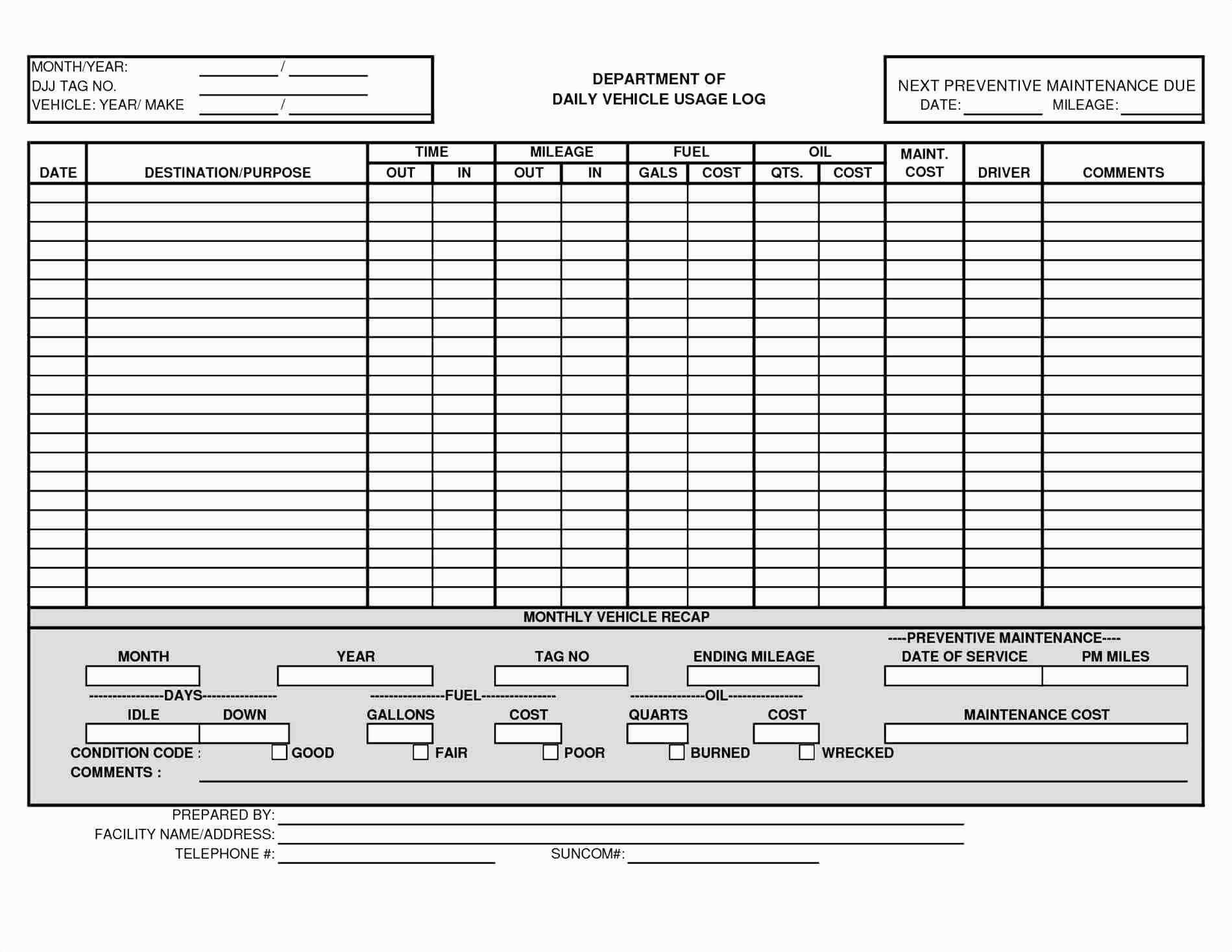 Schedule Template Driver Excel Vehicle Fleet Management Regarding Fleet Report Template
