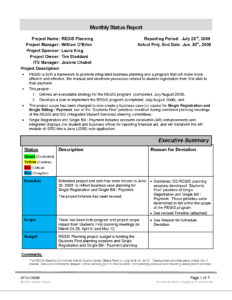 Schedule Template Project Report Management Executive with regard to Research Project Progress Report Template