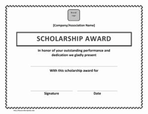 Scholarship Award Certificate within Landscape Certificate Templates