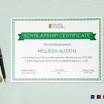 Scholarship Certificate Template For Scholarship Certificate Template Word