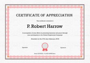 School Appreciation Certificate Template regarding In Appreciation Certificate Templates