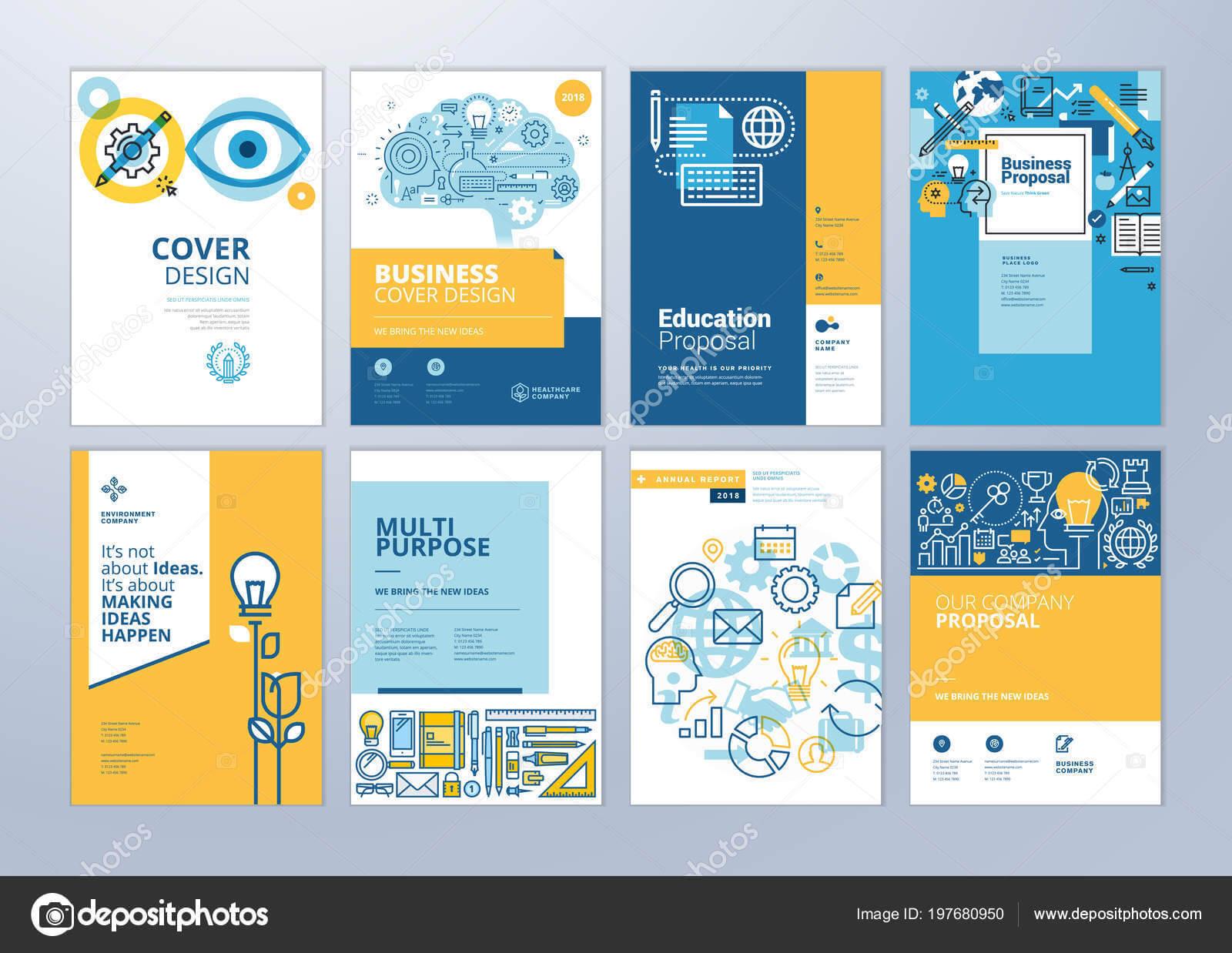 School Brochure Designs   Set Brochure Design Templates Throughout School Brochure Design Templates