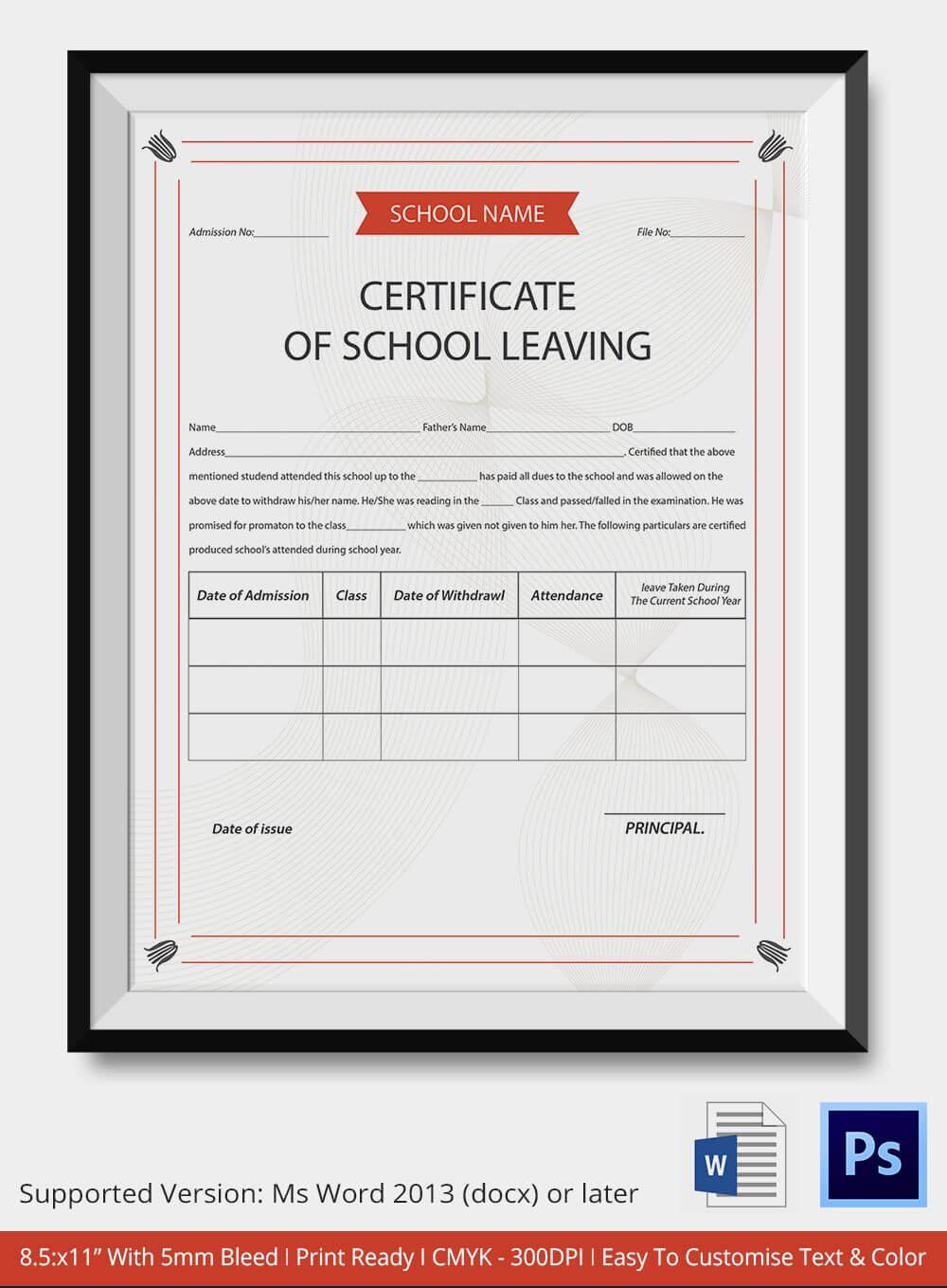 School Leaving Certificate Template | Certificate Templates With Leaving Certificate Template