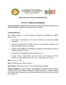 School Monitoring, Evaluation And Adjustment- Activity with regard to Monitoring And Evaluation Report Template