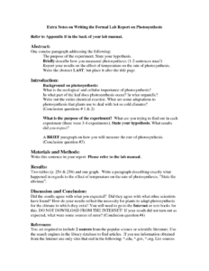 Science Lab Report Template   Glendale Community with Science Experiment Report Template