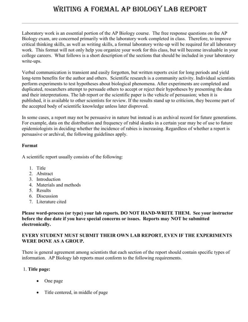 Science Lab Report Template - Pc Mac In Science Experiment Report Template