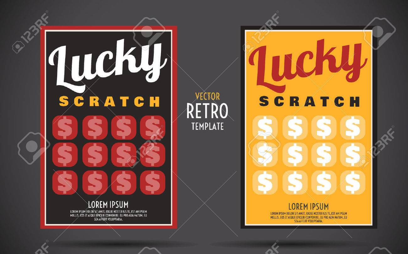 Scratch Off Lottery Card Creative Modern Ticket. Vector Color.. Throughout Scratch Off Card Templates
