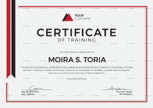 Security Training Certificate Template pertaining to Template For Training Certificate