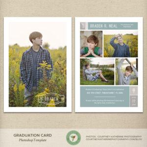 Senior Graduation Card Template, Graduation Announcement, Open House  Invitation, High School, College, Grad, Photo Card – G35 for Dominion Card Template