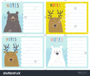 Set Cute Notes Cards Winter Vector Stock Vector (Royalty with regard to Christmas Note Card Templates