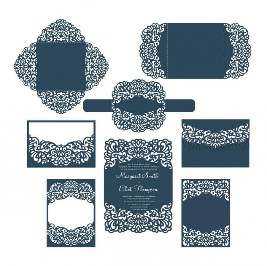 Set Laser Cut Wedding Invitation Templates Card / Envelope For Silhouette Cameo Card Templates