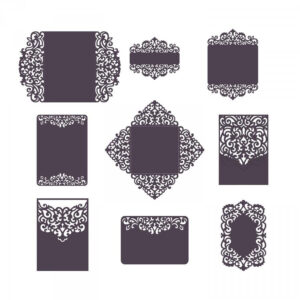 Set Laser Cut Wedding Invitation Templates Card / Envelope Intended For Silhouette Cameo Card Templates