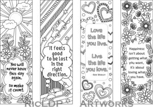 Set Of 4 Coloring Bookmarks With Quotes, Bookmark Templates regarding Free Blank Bookmark Templates To Print