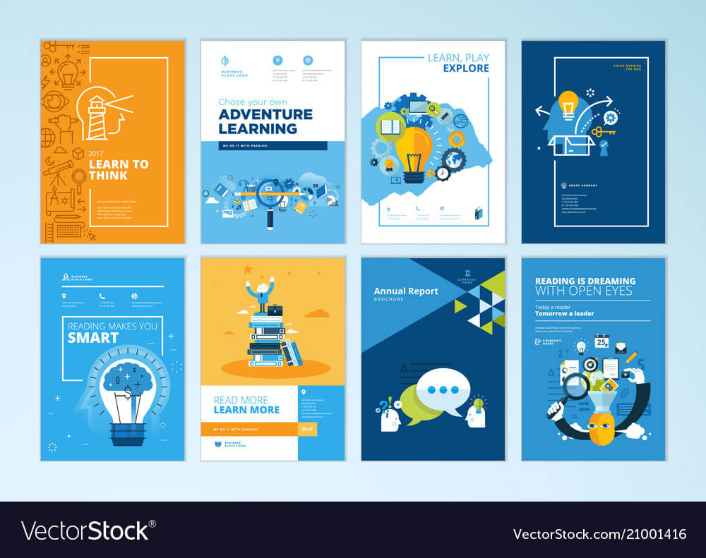 Set Of Brochure Design Templates Of Education With Regard To Brochure Design Templates For Education