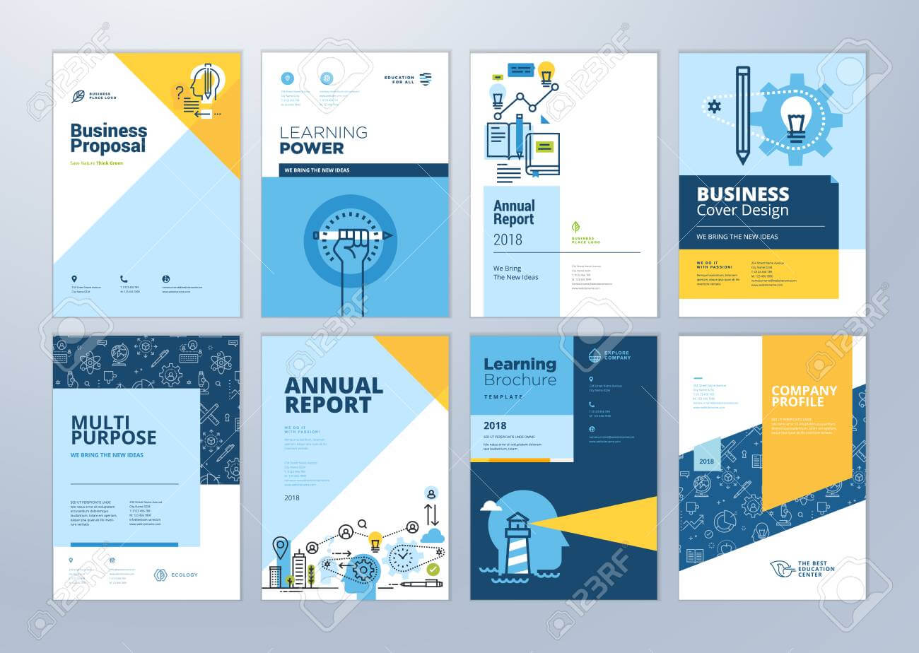 Set Of Brochure Design Templates On The Subject Of Education,.. For School Brochure Design Templates