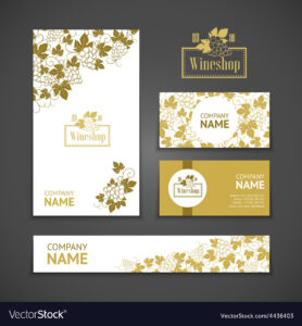 Set Of Business Cards Templates For Wine Company with regard to Company Business Cards Templates