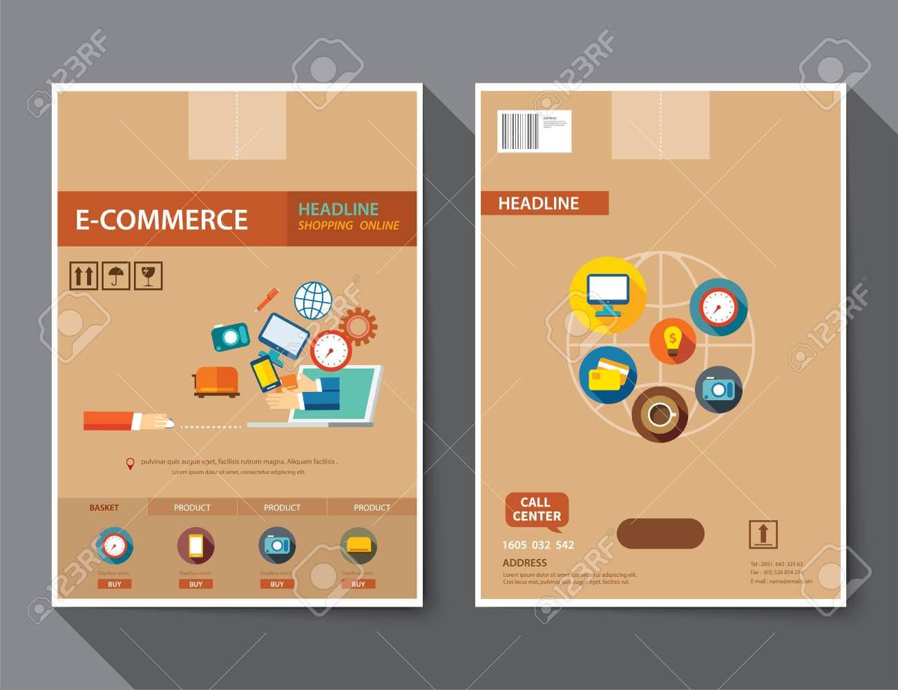 Set Of E Commerce Magazine Cover , Flyer, Brochure Flat Design.. With E Brochure Design Templates