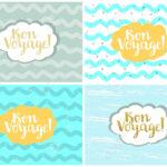 Set Of Four Cards, Vector Templates. Bon Voyage. Regarding Bon Voyage Card Template