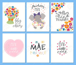 Set Of Mother's Day Cards Templates With Quotes In Portuguese with regard to Mothers Day Card Templates