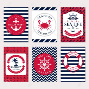 Set Of Nautical And Marine Banners And Flyers. Elegant Card Templates.. with Nautical Banner Template