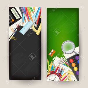 Set Of Two Back To School Vertical Banners. Templates With Supplies.. inside Classroom Banner Template