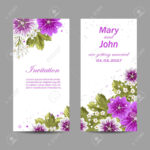 Set Of Wedding Invitation Cards Design. Beautiful Purple Flowers.. Within Invitation Cards Templates For Marriage