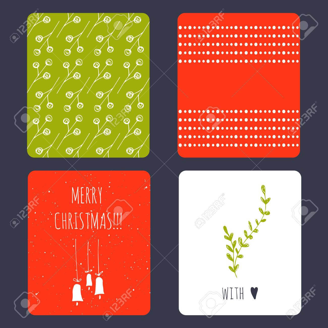 Set Of Winter Small Card Templates. Collection For Christmas.. In Small Greeting Card Template