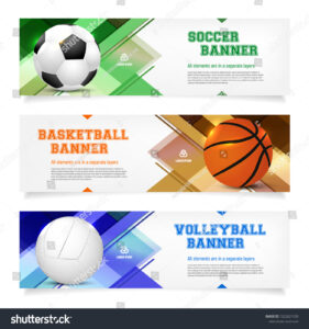 Set Sport Banner Templates Ball Sample Stock Vector (Royalty for Sports Banner Templates