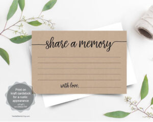 Share A Memory Card Template, Funeral Memory Card, Instant in In Memory Cards Templates