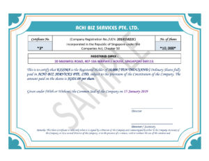Share Certificate In Singapore ~ Achibiz for Share Certificate Template Companies House