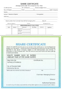 Share Certificate – Indiafilings with regard to Shareholding Certificate Template