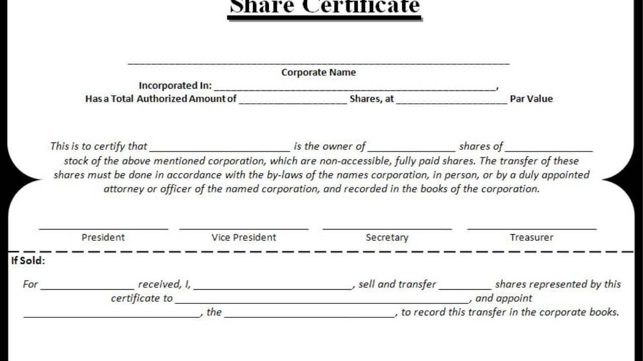 Share Certificate Templates | 3+ Free Printable Ms Word Formats With Template Of Share Certificate