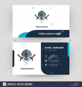 Shield And Sword, Business Card Design Template, Visiting for Shield Id Card Template