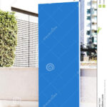 Signboard Stand Mock Up. Blue Banner Template In The Street Intended For Street Banner Template
