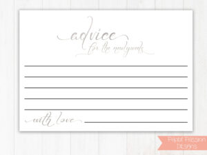Silver Wedding Advice Cards, Well Wishes Cards, Leave A Note within Marriage Advice Cards Templates