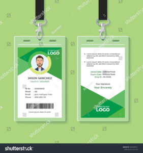 Simple And Clean Green Id Card Design Template Green#clean throughout Company Id Card Design Template