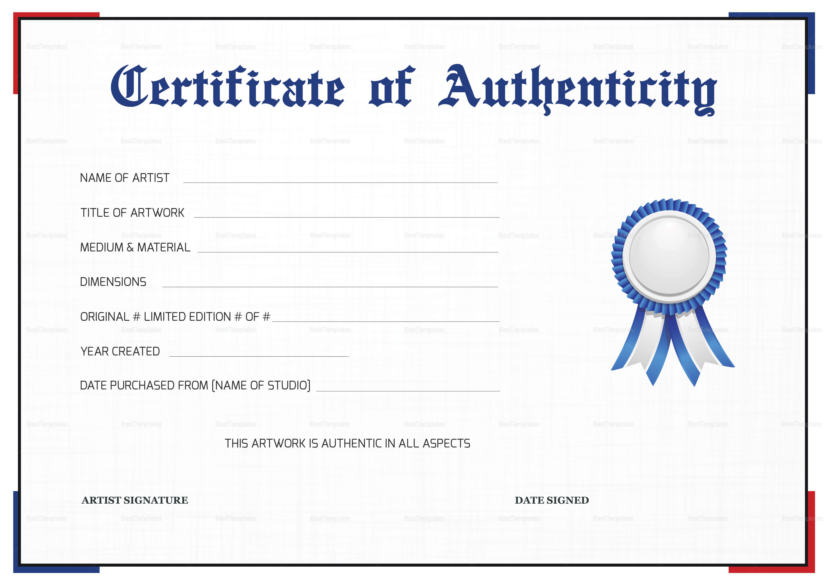 Simple Certificate Of Authenticity Template Regarding Certificate Of Authenticity Template