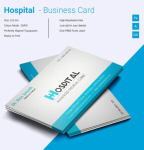 Simple Hospital Business Card Template | Free & Premium with Template For Calling Card