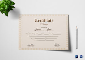 Simple Marriage Certificate Template with Certificate Of Marriage Template