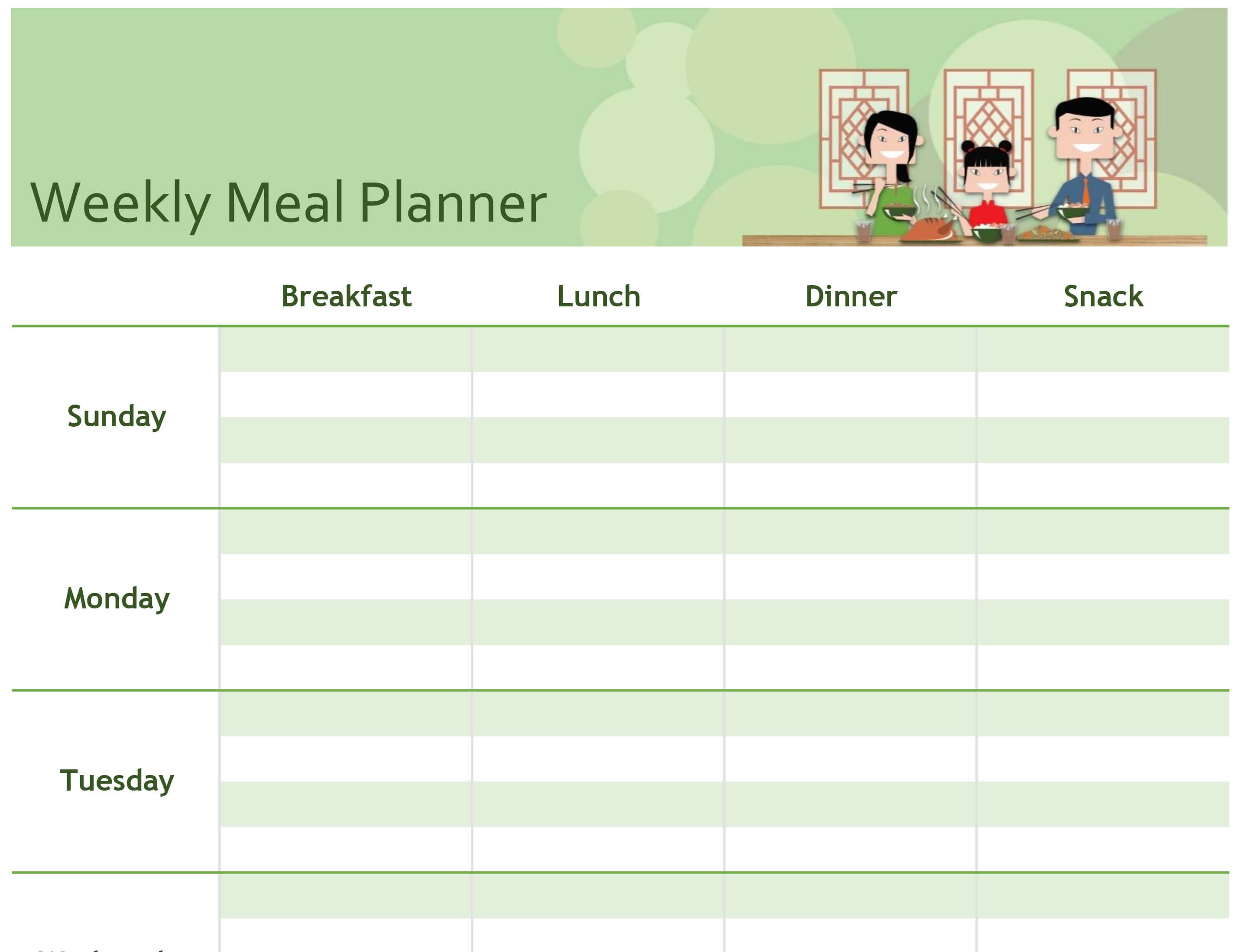 Simple Meal Planner In Menu Planning Template Word