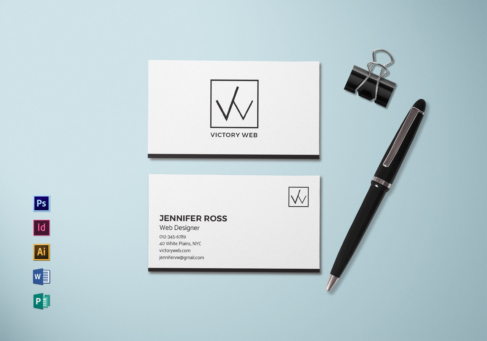 Simple Minimal Business Card Template In Buisness Card Templates