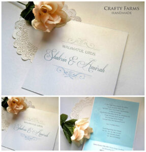 Simple Monogram Malay Handmade Wedding Invitation Card within Sample Wedding Invitation Cards Templates
