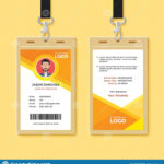 Simple Orange Graphic Id Card Design Template Stock Vector Inside Company Id Card Design Template
